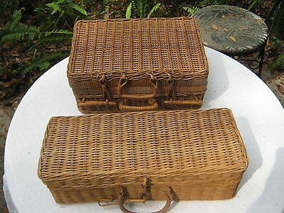 Pair of Antique Hand Crafted Utility Baskets Sewing