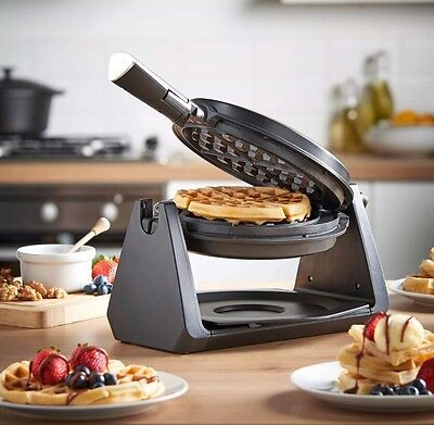 Rotating Quad Belgian Waffle Maker Iron Machine Stainless Steel Quality Gift NEW
