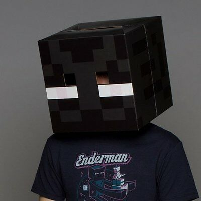 Minecraft Enderman Head Costume Mask Halloween Party Decoration Cosplay Prop Box