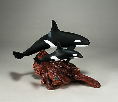 Killer Whale ORCA & CALF Statue New direct from JOHN PERRY 10in high Sculpture