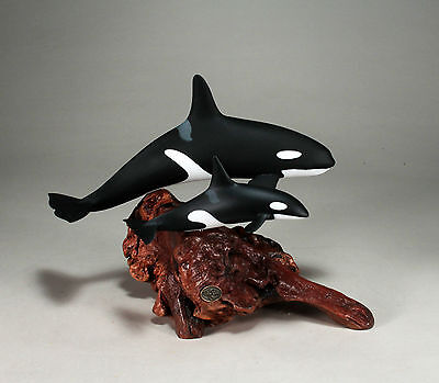 ORCA & CALF SCULPTURE New direct from JOHN PERRY 10in high Statue Art