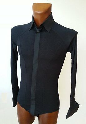 Men Black Stretch Cotton Shirt With Body Fitting For Tango, Ballroom