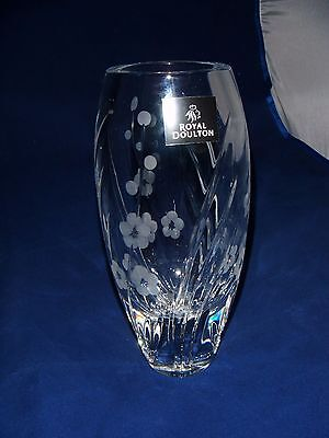 Royal Doulton Cut Glass Vase ~ Etched Flower Design ~ Perfect ~ Sticker