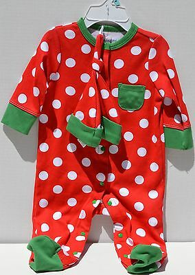 Offspring - Holiday Dot Footie And Hat 6 Month Polka Dot Red and White