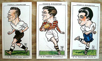OGDENS FOOTBALL CARICATURES X3 CARDS NO's 1 11 40  VERY GOOD  CONDITION