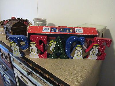 "1994 Christmas ""peace"" Wooden letters with angels..., Lot of 5"