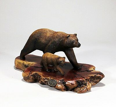 GRIZZLY BEAR & CUB Sculpture New direct from JOHN PERRY 45in high Statue Decor