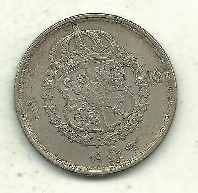 A Very Nicely Detailed Higher Grade 1945 G Sweden Silver 1 Krona-Sep818