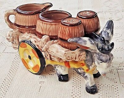 VINTAGE 1950's HAND PAINTED PORCELAIN DONKEY WAGON SALT PEPPER SUGAR CREAMER SET