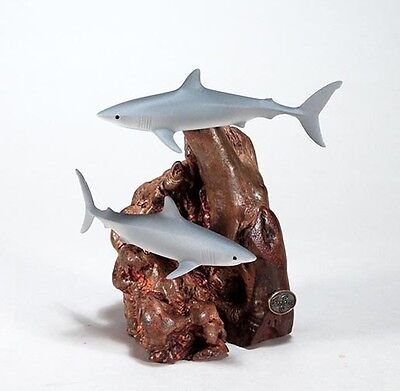 MAKO SHARK Pair Sculpture New direct from JOHN PERRY Figurine on Wood 7in Tall