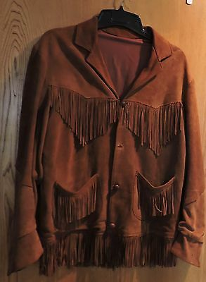 "Men's Vintage Western Brown Suede Leather Jacket With Long Fringe 42"" Chest"
