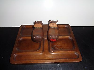 hippo- wooden pair of hippos on what not tray