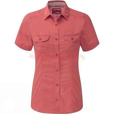 £47 Bnwt Craghoppers Womens NosiLife Darla Short Sleeve Sunset Ladies Shirt 12