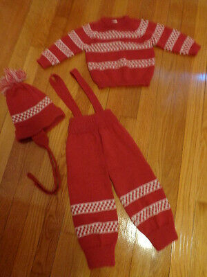 c1980's Sweater Set Top pants w/Suspenders and matching hat Made in Portugal
