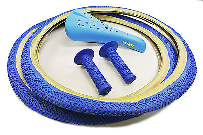 Old School Bmx Freestyle Tyres, Seat & Ame Tri Combo - Blue