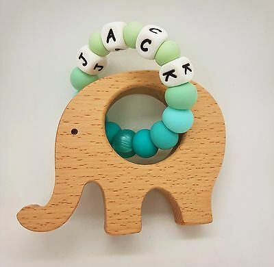 Personalised Silicone Teething Toy Wood Natural Teether Rattle Baby Shower Gift
