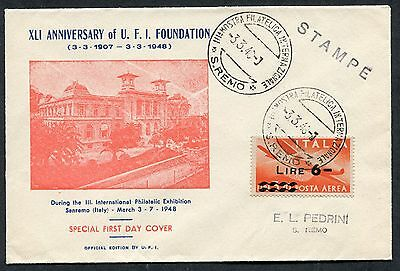 Italy 1948 - Airmail FDC, 3-3-48