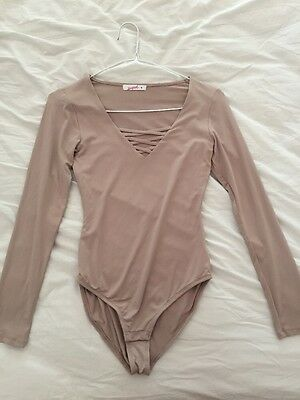 Size Small Super Nude Strappy Plunge Bodysuit