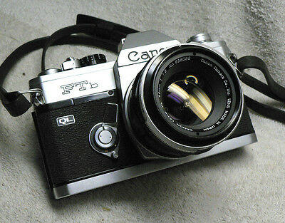 Vintage CANON FTb QL 35mm SLR Film Camera w/ 50mm f/1.8 FL Lens --- BEAUTY!