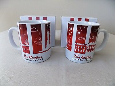 TWO New-In-Box Tim Hortons 2016 Traveler's Collection United States Coffee Mugs