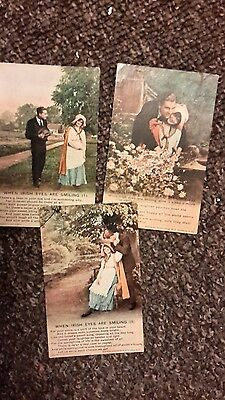 3 military song postcards , when Irish eyes are smiling