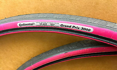 NEW! Pair of Pink Continental GP 3000 tires, Clincher, 700x23
