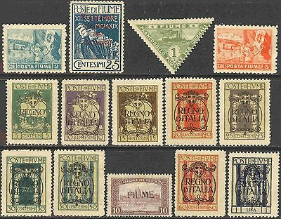 Fiume Mini-Collection of 14 Different Unused Stamps