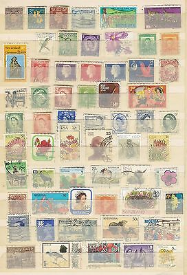 Vintage UK and British Commonwealth stamps x 60 Used Condition as per scan. A21