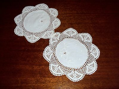 VINTAGE  LINEN/ EMBROIDERED /CROCHETED  DOILIES x 2