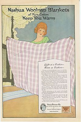 1920 Nashua Woolnap Blankets Light as a Feather-Warm as Feathers Ad Laundry Art