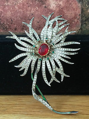 Vintage 1960 Christian Dior Couture Diamante Rhinestone Floral Brooch Pin