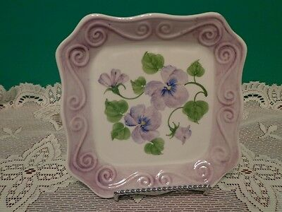 Forget Me Not Purple Plate Decorative Floral Handpainted