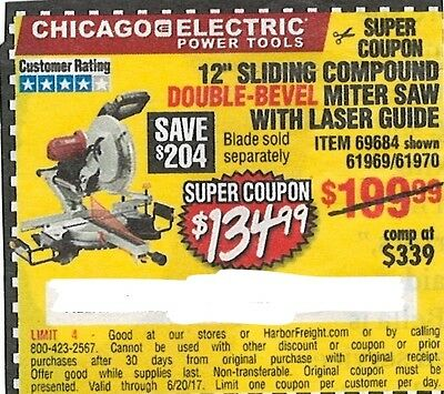 "Chicago Electric Power Tools, 12"" Sliding Compound Miter Saw, Harbor Freight"