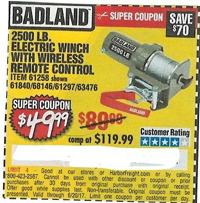 Badland 2500 LB. Electric Winch with wireless remote, Harbor Freight