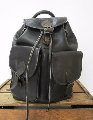 MARCO POLO Vintage Black Leather Unisex Multipocket Backpack Book Bag * AS IS *