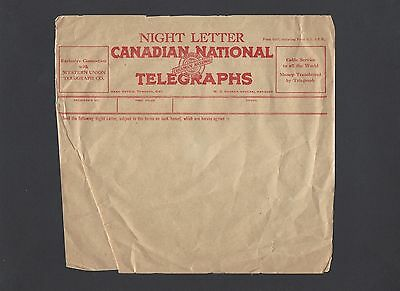 Vintage Canadian National Telegraph Night Letter Form circa 1930's