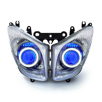 KT LED Angel Demon Eyes HID Headlight Assembly for Yamaha T-Max 2008-2011 Blue