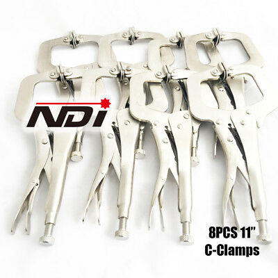 "6pc Heavy Duty Steel 11"" C-Clamps Mig Welding Locking Plier Vice Grip"