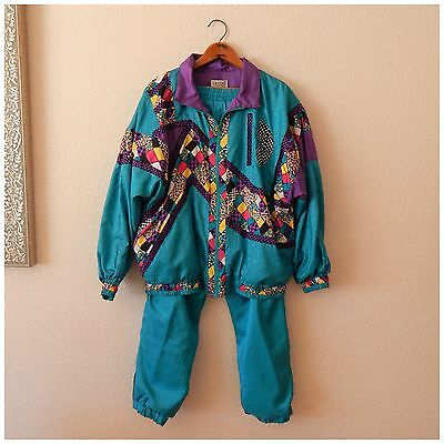 Vintage 80s LAVON Windbreaker TRACK SUIT Coat Jacket Pants Turquoise Blue Large