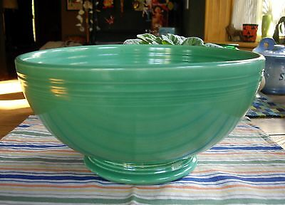 Vintage Fiesta GREEN Large Footed Salad Punch Bowl ~