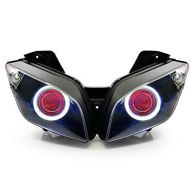 KT LED Angel Demon Eye Projector Headlight Assembly for Yamaha R15 2012-2016 Red