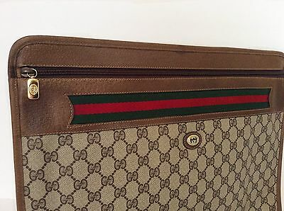 Vintage GUCCI Briefcase Portfolio Luggage 1980's Laptop Holder Purse Clutch RARE