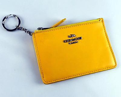 New Coach Yellow Smooth Leather Mini Skinny Wallet $48.50