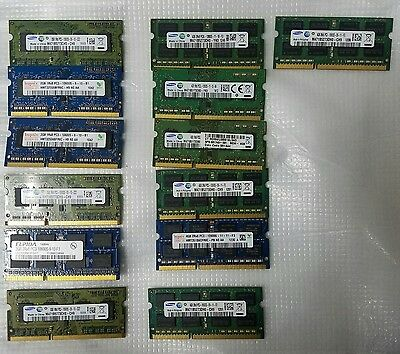 LOT of 13 4GB and 2GB LAPTOP MEMORY MIXED PC3  WORKING USED SODIMM