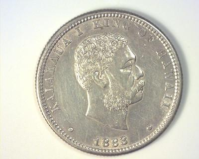 HAWAII 1883 SILVER 1/4-DOLLAR 25 Cents KM5 ABOUT UNCIRCULATED ~347493-RRE2