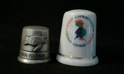 Lot of 2 Cayman Islands Thimbles 1 pewter-1 porcelain