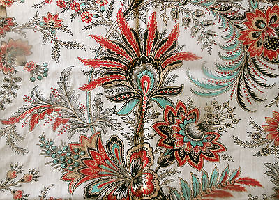 Antique French 19thc Indienne Floral Fern Cotton Fabric ~ Red Black Aqua