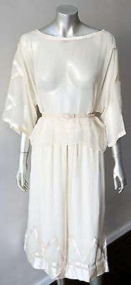 Retro Silk Chiffon Sheer Vintage 80s Layering Midi Beige Cream Skirt Suit M