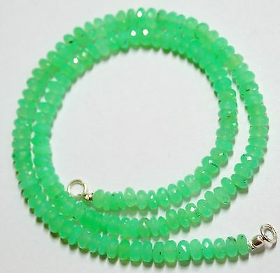 """88Cts. 16.5"""" 5 Mm Ultimate Qual.micro Faceted Emerald Color Chrysoprase Necklace"""