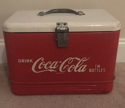 Rare Vintage 1950's Drink Coca Cola In Bottles  Cooler White Top Coke Tray Latch